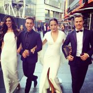 """Post-Emmys stroll with Derek Hough & the DWTS crew! Julianne Hough hiding in back!"" - Primetime Emmy Awards - September 20, 2015 Courtesy carrieanninaba twitter"